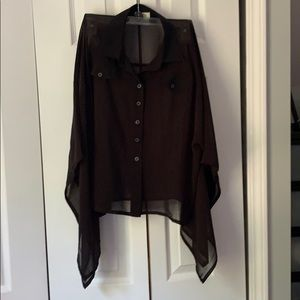 Sheer black poncho button up